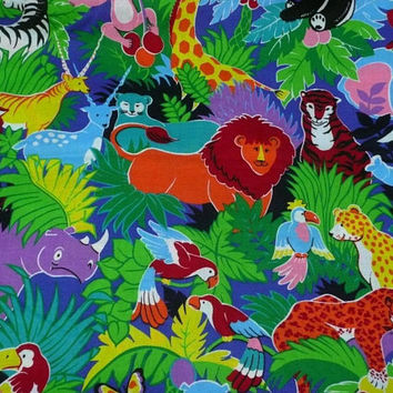 4 YDS of  Colorful, Cotton Fabric, Jungle Print by VIP Cranston, Elephants Tigers Giraffes Panda Bears for Quilting Drapes Children's Crafts