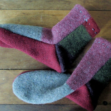 Wool Slipper Socks booties boot sox house slippers repurposed upcycled cozy warm rustic fireside cabin women medium 7 8 anthropologie style