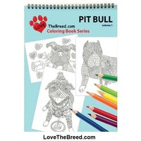 Pit Bull Pibble Coloring Book for Adults and Children - Volume 1