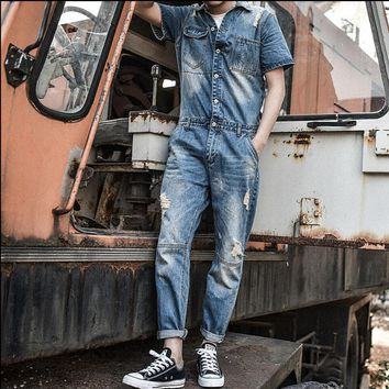 2017 New fashion Set casual men Short sleeves denim overalls jumpsuit Nine pants jeans blue overalls vintage singer costumes