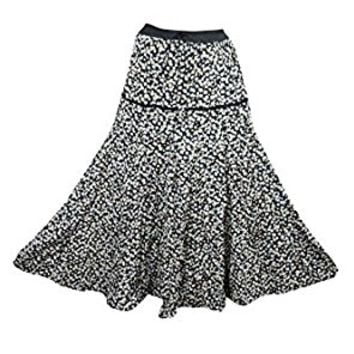 Mogul Womens Medieval Skirts Black Floral Printed A-line Flare Boho Sexy Long Maxi Skirts