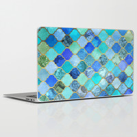 Cobalt Blue, Aqua & Gold Decorative Moroccan Tile Pattern Laptop & iPad Skin by Micklyn