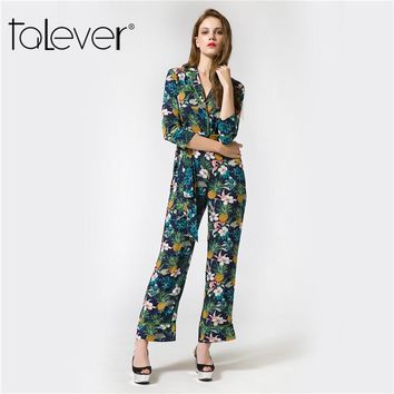 Talever 2017 Sexy Autumn Womens Clothing Boho Jumpsuit Long Bodysuits Women Long Pants Rompers Playsuits Overalls Print Bodysuit
