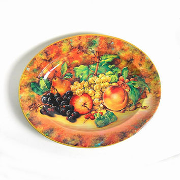 Daher Tin Serving Tray, Vintage c1970s, Fall Fruit and Berries, Orange Yellow, Thanksgiving, Collectible (WB3)