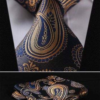 Gold Blue Floral 100% Silk Men's Necktie Pocket Square set
