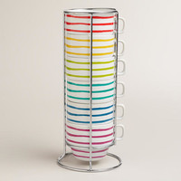 French Stripe Stacking Mugs, Set of 6