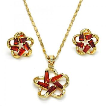 Gold Layered 10.210.0019 Necklace and Earring, Flower Design, with Garnet Cubic Zirconia, Polished Finish, Golden Tone