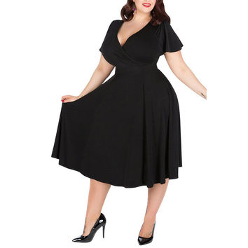 2017 5XL Plus Size Women Summer Dress Slim V Neck Short Sleeve Knee Length Casual Elegant Skater Swing Vestido Large Over Size