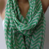 Dance of the Colors Collection / Infinity - Loop - Circle - Elegant -Green - Chiffon - Feminine - Summer - Shawl - Scarf