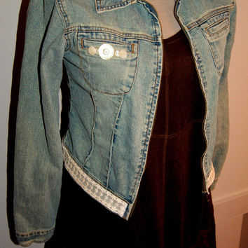 Upcycled Distressed Denim Jacket Jean Jacket Boho Upcycled Clothing Vintage Lace Buttons Military Jacket Size 5 Small