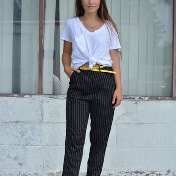 The Tennelle Pinstripe Pant - Black