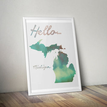 Watercolor Michigan Print, Michigan Print, Michigan Art, Michigan Poster, Michigan State Print, Download, PDF & JPEG,8.5 x 11, Vertical Art