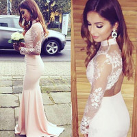 Lace Satin Prom Dresses,High Neck Prom Dresses,Long Evening Dress