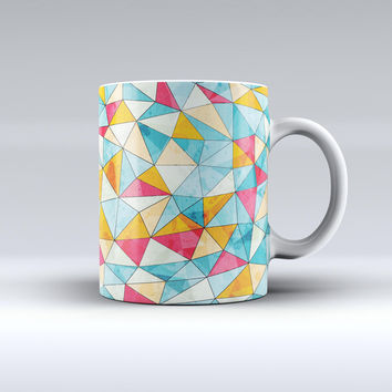 The Triangular Geometric Pattern ink-Fuzed Ceramic Coffee Mug
