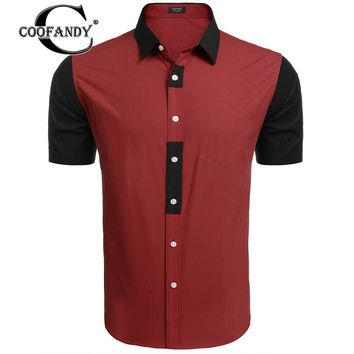 COOFANDY Men's Short-Sleeve Patchwork Contrast Color Slim Fit Button Down Shirt