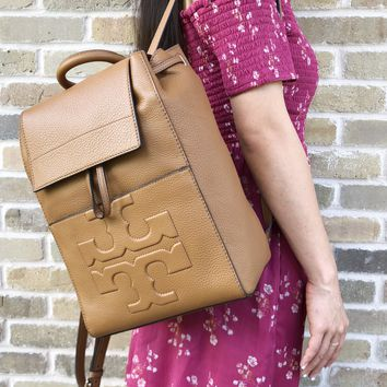 Tory Burch Bombe Combo T Flap Backpack Leather Bark