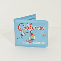 vintage California wallet - 1970s 70s vinyl plastic wallet - seagull baby light blue - sailboat sail boat - Found by Me Vintage