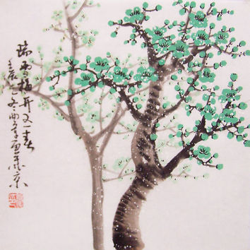 Cherry Blossom paintings Original  chinese  painting oriental art watercolour-Lovely cherry blossom tree No.74