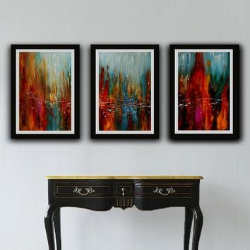 Set of 3 Abstract Art Print, Landscape Artwork Prints, Turquoise and Orange Painting, set of 3 Prints, Abstract Prints, String Print