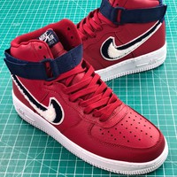 Nike Air Force 1 High Chenille Swoosh Red Sport Shoes - Best Online Sale