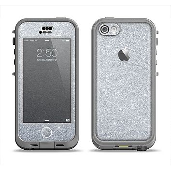 The Silver Sparkly Glitter Ultra Metallic Apple iPhone 5c LifeProof Nuud Case Skin Set