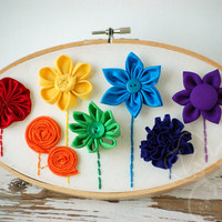 Rainbow Garden handmade flower hoop art from VioletsBuds