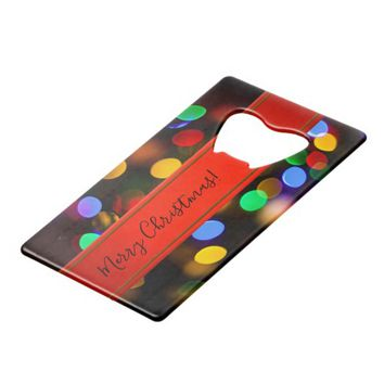 Multicolored Christmas lights. Add text or name. Credit Card Bottle Opener