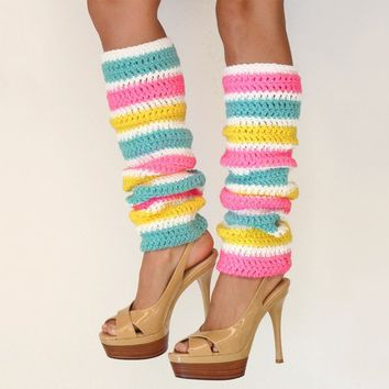 Striped Leg Warmers in Hot Pink Aqua and by mademoisellemermaid