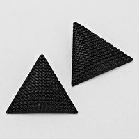 Triangle Stud Colored Earrings Black
