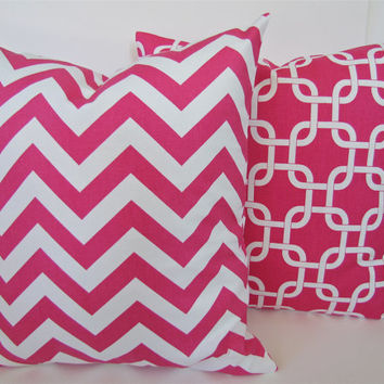 PILLOW COVER 20x20  Decorative Throw Pillows PINK Chevron Throw Pillow Covers Modern Geometric Hot Pink Pillows Fuschia Home and Living