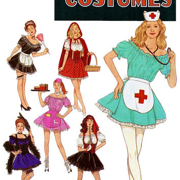 SEXY DRESS-Up COSTUMES Pirate Nurse Can-Can Dancer French Maid Little Red Riding Hood Car Hop Waitress UnCUT Simplicity 8851 Sewing Patterns