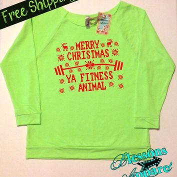 MeRRy CHRiSTMaS FiTNeSS ANiMaL. Ugly Christmas Sweater. Workout Sweatshirt. Fitness Apparel. Workout Shirt. Free Shipping USA