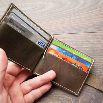 Money Clip Wallet, PERSONALIZED WALLET Men's Leather Gifts Bifold Wallet Distressed Minimalist Leather Wallets Valentine's Day