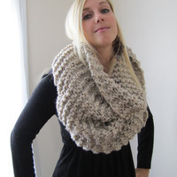 Super Snuggly Chunky knit cowl Oatmeal by Happiknits on Etsy
