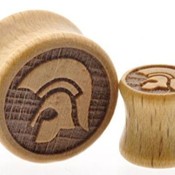 "Wooden Ear Plug with Trojan Greek Helmet Design Sold As a Pair -00 Gauge -1/2"" - 9/16"" - 5/8"" - 11/16"""