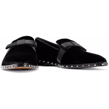 Bow-detailed studded velvet loafers | VALENTINO GARAVANI | Sale up to 70% off | THE OUTNET