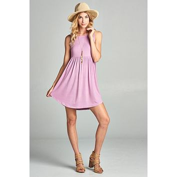Simple Spring Tank Style Dress - Lily Lavender