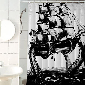 giant octopus attack shower curtains