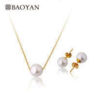 Women 45cm 316l Stainless Steel Gold Plated Imitation White Pearl Choker Necklace and Earring Jewelry Sets Collar n5