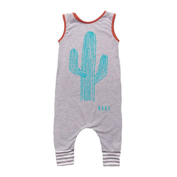 "Rags to Raches ""Cactus"" Tank Romper - Grey"