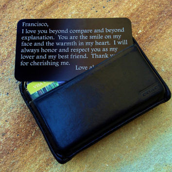 Personalized Wallet Card, Engraved Love Note, Custom Wallet Insert: Stocking Stuffer, Valentines, Anniversary, Wedding