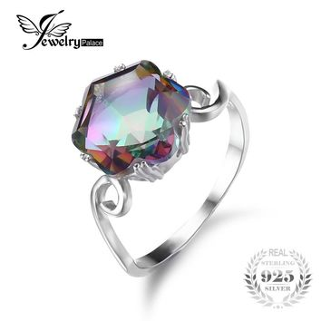 JewelryPalace Brand New 3.2ct Genuine Rainbow Fire Mystic Topaz Ring For Women Solid 925 Sterling Silver Engagement Vintage