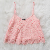Blush Crochet Lace Tank