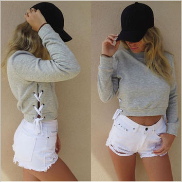 High-quality Womens Bandage Sweater + Free Black Tattoo Choker Gift-76
