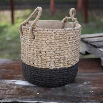 Natural & Black Large Braided Cement Planter With Jute Handles