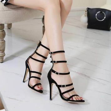 Minimalist Multi-Strap High Heel Sandals