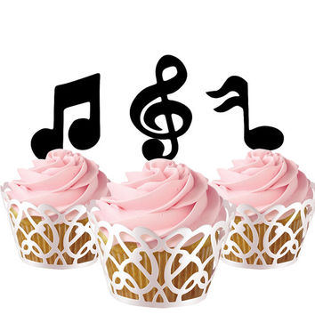 5 pcs in one set music notes CupCake toppers for party decor, birthday party cupcake toppers acrylic,  gift for birthday