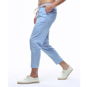 Men's Summer Casual Pants Natural Cotton Linen Ankle-Length White Linen  Harem Pants Y236