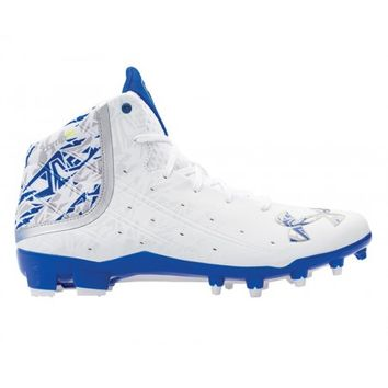 Under Armour Banshee Mid Cleat - White/Royal | Lacrosse Unlimited
