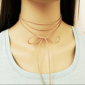 Nude Suede Wrap Necklace / Tan Wrap Necklace / Genuine Leather Cord Choker / Nude Wrap Choker / Tie Cord  Necklace / Trendy Necklace / N300
